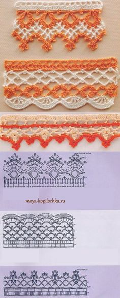 Crocheted lace.  42 sample crocheted lace trim to the edge of the product
