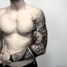 Stunning full sleeve negative effect mandala tattoo by otheser_dsts.  Mandala Sleeve Tattoos are extraordinary pieces of artwork, and any tattoo lover is bound to drool over these masterpieces. Enjoy!
