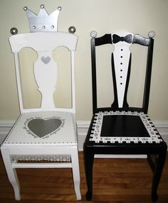 Bride and groom chairs | Bride and Groom Chair - Alice Hinther Designs Art Cards