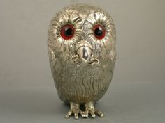 Antique silver owl novelty mustard pot | Victorian table toys | Steppes Hill Farm Antiques | http://www.steppeshillfarmantiques.com/blog/the-victorian-vogue-for-table-toys-2259