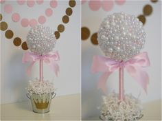 PEARL CENTERPIECES. White & pink pearls. Baptism centerpiece. Pearl baby shower. Wedding pearl decorations. Princess party decorations Crown by SweetGeorgiaSweet on Etsy https://www.etsy.com/listing/198195077/pearl-centerpieces-white-pink-pearls