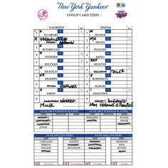 Yankees at Twins 7-25-2015 Game Used Lineup Card (MLB Auth)(HZ572417)