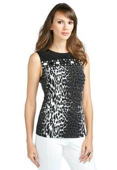 Cato Fashions Embellished Animal Print Top - Plus #CatoFashions