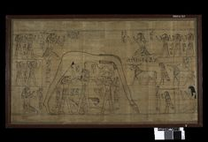 """The Greenfield Papyrus, c. 940 BCE. Found Deir el Bahri, Egypt. """"One of the longest and most beautifully illustrated manuscripts of the 'Book of the Dead' to have survived. It was made for a woman named Nestanebisheru, the daughter of the high priest of Amun Pinedjem II. As a member of the ruling elite at Thebes, she was provided with funerary equipment of very high quality. This scene is a symbolic representation of the creation of the world."""""""