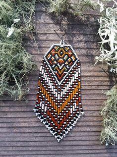Marrakesh..Beaded Fringe Earrings Native American by hoofandarrow
