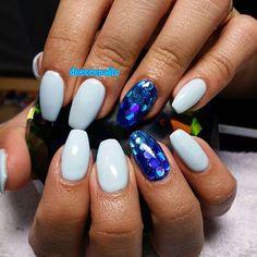 Instagram media deeceenails - ||pastel blue w/ chunky glitter accent|| #gel #gelnails #gelnailart #pastelblue #pastelbluenails #chunkyglitter #nails #nail #nailart #nailitdaily ##naillovers #cutenails #coffinnails #ballerinanails #longnails #sparkles #glitternails #dopenails #nailtech #notpolish #springnails #summernails