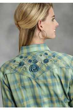 Roper Blue & Green Plaid Karman Special Styles Long Sleeve Urban Western Wear - $42.95