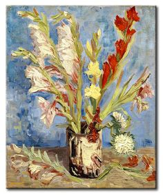 MU_VG2038 t_Van Gogh _ Vase with gladioli and China asters / Cuadro Flores, Florero con Gladiolos