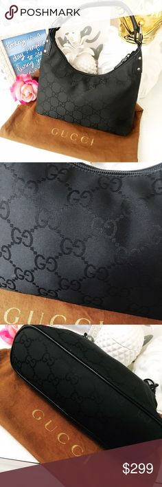 """Gucci Black Signature Logo G Shoulder Bag Purse Classic Black Fabric Gucci handbag with allegedly Over """"G"""" print. This bag is in mostly excellent condition, but please note there is some wear along the bottom seams. It is not noticeable when worn. Zippered closure. Comes with brown Gucci logo dustbag as pictured. Gucci Bags Shoulder Bags"""