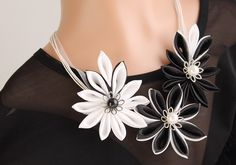 Black and White Satin Flower Necklace Kanzashi by HandyCraftTS