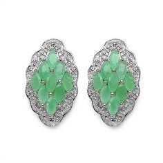 Elegante 1,3 Carat Smaragd Topas Ohrstecker, Ohrring, 925 Silber, Schmuck