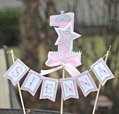 Girl Pink and Silver Little Princess 1st / First Birthday  Cake Topper.  Any Age.  Custom and Fully Assembled. by CharmingTouchParties on Etsy