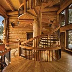 """Log cabin stairs- This is how the stairways in my """" future cabin in the woods"""" would be like. Appartement Design, Log Cabin Homes, Log Cabins, Stairway To Heaven, Design Furniture, Log Furniture, Cabins In The Woods, Logs, Cabana"""