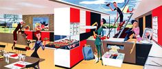 House of the Future  We see the prediction of the iMac, Skype and flatscreen TVs in this 1956 illustration by Fred McNabb.
