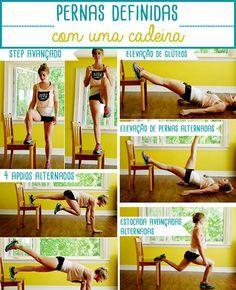 Pernas definidas em 5 exercícios usando apenas 1 cadeira!