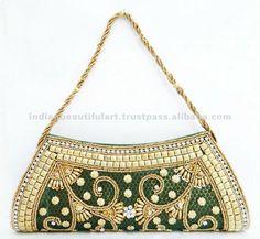 Designer Green Clutch Brocade Fabric Stylish Bridal Wedding Purse Handbag