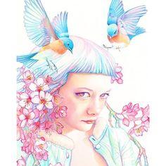 "@tracylewisart's photo: ""Detail ~ ""Sakura"" watercolor."""