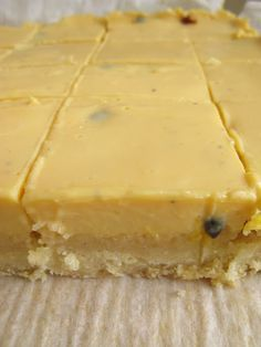 passionfruit slice - biscuit base with a fudgy passionfruit topping