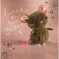 """Mouse """"Tiddly pom pom"""" by Eleri Fowler for Paper Rose greeting card Crafts To Make And Sell, Diy And Crafts, Crafts For Kids, Pom Pom Crafts, Yarn Crafts, Pom Pom Animals, Diy Broderie, Pom Pon, Pipe Cleaner Crafts"""