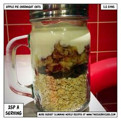 Slimming World overnight oats recipes to inspire you! No boring overnight oats - try peanut butter, rhubarb and custard, café mocha - all low or syn free! Slimming World Desserts, Slimming World Breakfast, Slimming World Plan, Slimming World Overnight Oats, Slimming World Recipes, Low Calorie Overnight Oats, Overnight Quinoa, Porridge Recipes, Oats Recipes