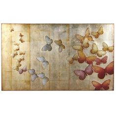 Flight Art from Pier 1 imports.  I love that the background looks almost like book pages from far away.  (Mine will be)  and I love the movement and the color grouping.  Close up, the butterflies are a bit metallic.  That'll be fun!