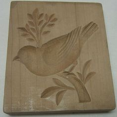Springerle cookie mold, wood: songbird standing on a branch