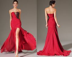 Custom Made Long Stunning Red High Split Strapless by STHNAB, $245.00