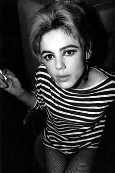 """Edie Sedgwick owns beatnik stripes."" Edie Sedgwick, by Andy Warhol"