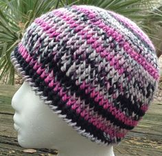 Crocheted Hat Beanie Ladies Pink Gray Black Stocking by RaeOfLight, $15.00