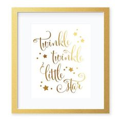 Twinkle Twinkle Little Star gold Foil Art Print Nursery Decor by Digibuddha