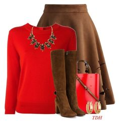 Brown & Red by talvadh on Polyvore featuring polyvore fashion style Marc Jacobs Chicwish Gianvito Rossi Marni Melrose & Market clothing