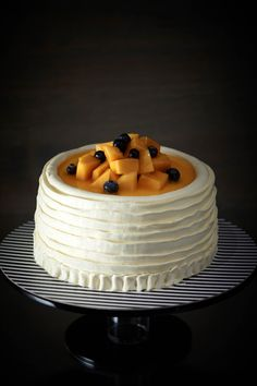 Mango Banana Cream Cake ~  Created with our homemade secret Mango Jam recipe, this exotic cake has fresh Mango Chunks, Mango Mousse, Banana Chiffon, Choc-covered Wafer Crisps...a winner to ALL mango cake recipes in Asia!