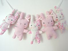 Bitsy Bunny Fabric Garland Vintage Pastel Pinks by RubyRedcrafts, $18.00