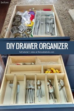 Custom DIY Adjustable Drawer Organizer for Utensils and More (Remodelaholic) Diy Drawer Dividers, Kitchen Utensil Organization, Diy Drawer Organizer, Drawer Organisers, Organization Hacks, Kitchen Utensils, Organizers, Desk Dividers, Kitchen Gadgets
