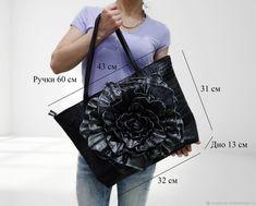"""Купить Кожаная сумка-цветок """"Поместится всё"""" - черный, подарок на день рождения, сумка с декором"""