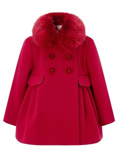 Combat the cold with our Ruthy coat for baby girls. Topped with a gorgeous faux fur collar that detaches by buttons, this double-breasted style boasts long s. Baby Outfits, Little Girl Outfits, Kids Outfits, Emo Outfits, Frock Design, Toddler Fashion, Kids Fashion, Red Faux Fur Coat, Baby Frocks Designs