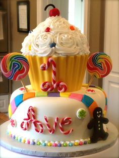 """Candyland Cake - just as the cake itself points out, I """"LOVE"""" this cake!"""