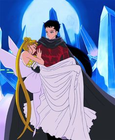 Sailor Moon - Kidnapping The Queen - Seiya & Usagi Sailor Moon Stars, Sailor Moon Crystal, Cristal Sailor Moon, Sailor Moon Usagi, Stars And Moon, Sailor Moon Background, Sailor Moon Wallpaper, Princesa Serenity, Sailor Moom