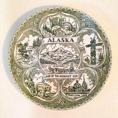 vintage Alaska green transfer ware state souvenir plate by forrestinavintage, $12.00