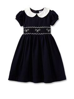 Rachel Riley Girl's Bow Smocked Dress