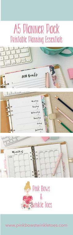 Free Printable A5 Planner Pack: Printable Planning Essentials - Pink Bows & Twinkle Toes