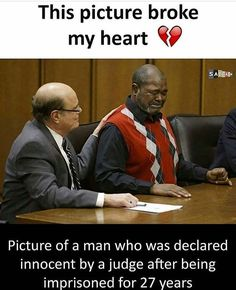 Funny how it's always a black man. This poor man is on tears w this revelation of TRUTH. traumatized and broken down at least he's going home. may have been outlaws but his laws are still in effect and he's stealing ppls lives. Mind Blowing Facts, Epic Photos, I Want To Cry, Faith In Humanity Restored, Good People, Memes, Prison, Feel Good, It Hurts