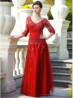 A-Line/Princess V-neck Floor-Length Tulle Charmeuse Mother of the Bride Dress With Lace Beading Sequins (008024566) - JJsHouse
