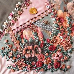 The perfect composition, rich ribbon embroidery, and beaded details of this entry in the Crazy-Quilt Journal Project absolutely take my breath away. The block is by the incomparable Sharon B of Australia