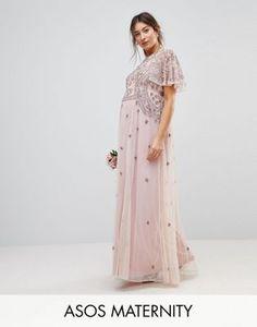 ASOS Maternity WEDDING Iridescent Delicate Beaded Flutter Sleeve Maxi Dress