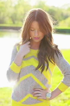 Extreme cute neon chevron sweater fashion trend