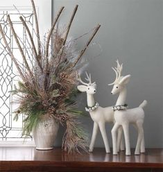 Floral arrangements using Snowy Branch Bundles found in the Forest Frost Collection by Crafty to the core