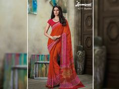 Orange georgette digital floral printed sarees with unstitched red colour blouse from Laxmipati Saree. #Catalogues- #SONPARI Price - Rs.1069.00 Visit for more designs@ www.laxmipati.com #ReadyToWear #OccasionWear #Ethnicwear #FestivalSarees #Fashion #Fashionista #Couture #SONPARI0816 #LaxmipatiSaree #autumn #winter #women #her #she #mystery #lingerie #black #lifestyle #life #ColoursOfIndia #HappyBride #WhoYouAre… Laxmipati Sarees, Georgette Sarees, Catalog Online, Red Colour, Printed Sarees, Buy Prints, Office Wear, Daily Wear, Bridal Collection