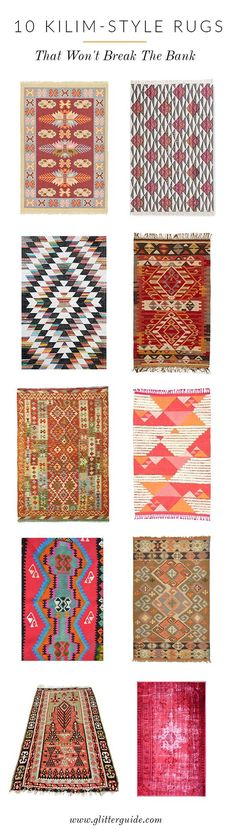 Loving kilim-style rugs these days. Here is where to save on this splurge-worthy trend! | via @glitterguide