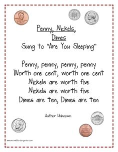 Free Money Poem Kindergarten Money Poem for FREE? You bet Perhaps a poem and a pocket chart activity will be close enough. Here is a poem/song I had in my files… but I am not sure where it – Kindergarten Lesson Plans Kindergarten Poems, Kindergarten Lesson Plans, Math Songs, Preschool Songs, Preschool Ideas, Money Poem, Learning Money, Fun Learning, Money Activities